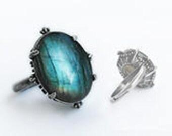 Labradorite Ring Labradorite engagement ring blue stone ring silver ring gemstone ring Adjustable solitaire ring gift for girlfriend women