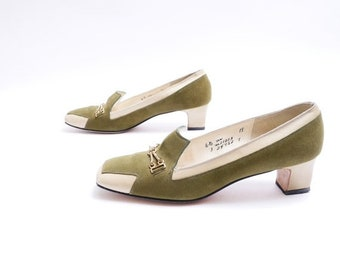 Spring Sale 60s Two Tone Slip On Pumps // Olive Green Suede Leather // Brass Accents 6.5 M // 97