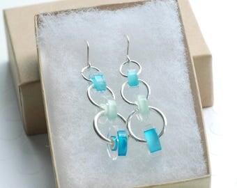 Long Dangle Earrings, Aqua Blue Earrings, Cane Glass Jewelry, Beachy Earrings, Vacation Earrings, Summer Jewelry, Drop Earrings - Fountain