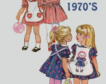 Vintage 1970s Girls Dress & Apron w/ Heart pockets Sewing Pattern Simplicity 9731 70s Sewing Pattern Size 4