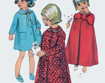 Vintage 1960s Girls Christmas Pajamas Robe Nightgown Sewing Pattern Simplicity 7375  Childrens Mod Sewing Pattern Size 3 Breast 22
