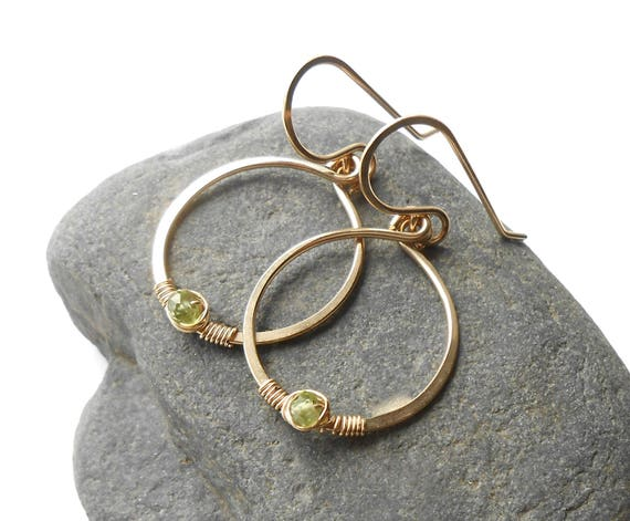 Gold Circle Earrings, Peridot Gold Filled Dangle Earrings, Gold Drop Earrings, Minimalist Jewelry