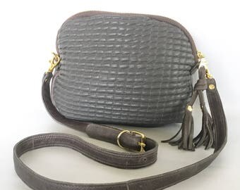 AW13 Leather bag in quilted grey lamb skin