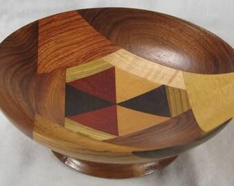HOBBIT HOUSE laminated / segmented exotic wood bowl #C233