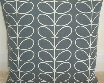 "16x16 Zippered Pillow Cover Orla Kiely Linear Stem Cool Grey 16"" Square Accent Decorative Throw Cushion Case Sham Slip Retro Gray Zipped"