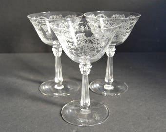 Heisey Champagne Coupe Glasses {3 Vintage Etched Crystal Cocktail Glasses Wine Stemware Set Wedding Gift Bride Groom Toasting}