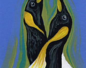 ACEO ATC Penguins Bird Wildlife  Original Miniature Painting Art-Carla Smale