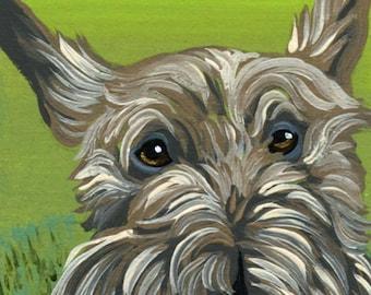ACEO ATC Wheaton Terrier Original Gouache Painting Pet Dog Art-Carla Smale