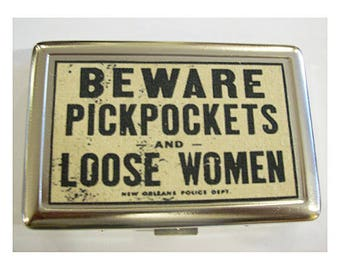 Beware pickpockets metal wallet vintage retro New Orleans pin up rockabilly cigarette case