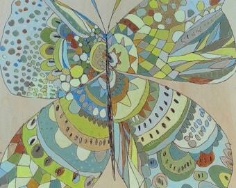 Butterfly Jennifer Mercede painting 12x12in Earth Fly