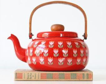 Vintage Tulip Teapot, Red Enamel Tea Kettle, Flower Design