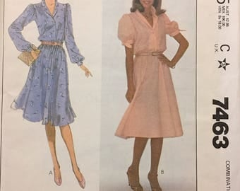 80's Misses' Pullover Dress McCall's 7463 Sewing Pattern  size 10-14 Bust 32-36 inches  Complete Sewing Pattern