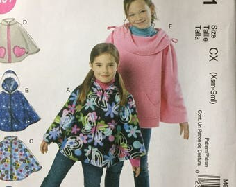 Girls' Ponchos Sewing Pattern McCall's 6431  Uncut Complete Size Xsm-Sml Size 3-6