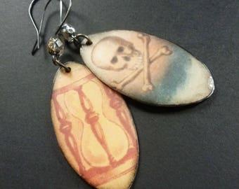 Memento Mori ~ resin art earrings with skull and bones ~ altered art OOAK