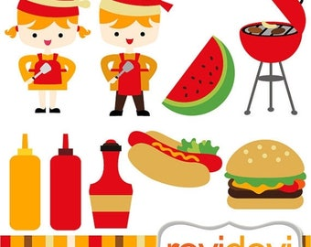 50% OFF SALE Clipart Backyard BBQ - Commercial use graphic images clip art for personalized digital party printable, printed products, web d