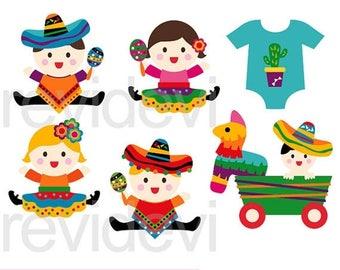 35% OFF SALE Cinco de mayo baby clipart, Mexico CInco de mayo clip art digital, instant download