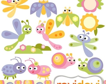 35% OFF SALE Cute bugs clip art pastel color - Joyous Baby Bugs Cliparts - snail, ladybug, grasshopper clipart - commercial use, instant dow