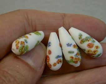 Vintage Japanese Millefiori Glass Beads White Teardrop 20mm flowers pkg4 gl10