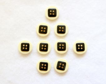 Supplies - Black and white buttons, art deco buttons, vintage buttons