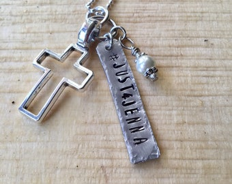 Just 4 Jenna charm necklace #just4jenna aluminum hand cut and stamped metal work just plain Jane designer pray for Jenna
