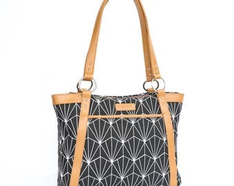 Laptop Tote Bag in Black and White Art Deco Pattern with Tan Camel Faux Leather - Laptop Bag, Laptop Tote, Canvas and Vegan Leather