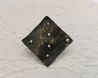 Hammered copper and fused sterling silver copper banded square balls ring with heavy patina , size 9.75