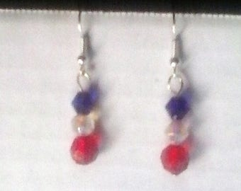 Patriotic Faceted Beaded Earrings