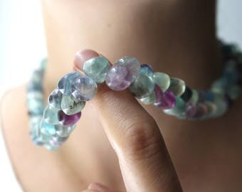 Rainbow Fluorite Bead Necklace . Gemstone Briolette Necklace . Gemstone Beaded Necklace Handmade . 20 Inch Necklace - Chakra Collection NEW