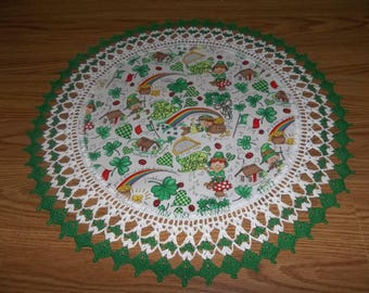 Crocheted Doilies St Patrick's Day Lace Doily Shamrocks Leprechauns Pot of Gold Fabric Center Crocheted Edge Centerpiece Table Topper gift