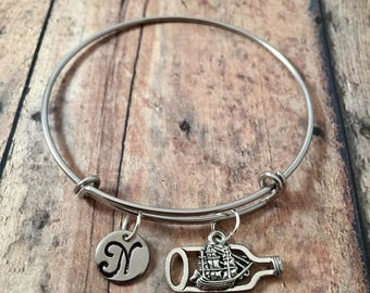 Ship in a bottle initial bangle - ship jewelry, boat bangle, pirate ship jewelry, ship in a bottle jewelry, pirate bracelet, ship bangle