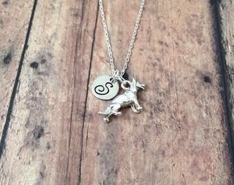 German Shepherd initial necklace - German Shepherd jewelry, police dog necklace, GSD jewelry, silver German Shepherd pendant, K9 jewelry