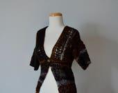 Handknit Cardigan, Women's Sweater With Lace and Texture, Handspun Shetland, Merino Wool, Sari Silk, Bamboo, Small/Medium, Halloween Calico