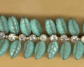 vintage TRIM 1940s germany-us zone TURQUOISE color GLASS and rhinestone wired trim, rare and bendable nine inches antique trim