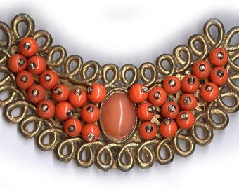 vintage CORAL color GLASS and METAL sewn on a foundation you can use for focal embellishment applique
