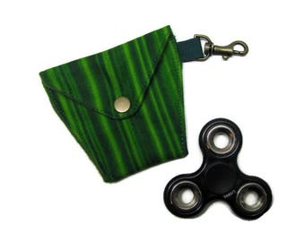 FIDGET SPINNER/ EARBUDS case, Lined, padded, snap closure, lanyard hook, Green stripes