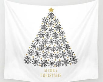 wall tapestry-wall hanging-holiday decor-christmas decor-holiday wall art-typography-gold white and black-christmas tree-home decor