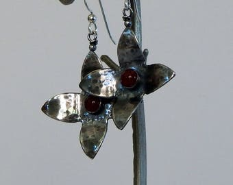 Sterling Silver Flower Earrings Silver Earrings Flower Jewelry Natural Gemstones Silver Flowers Gift For Her Dangle Earrings Floral Jewelry