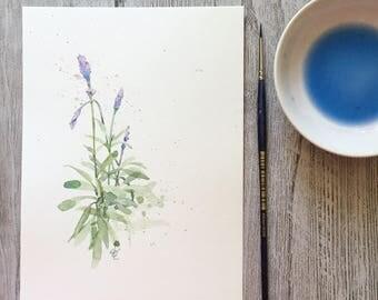 french lavender minimalist original painting