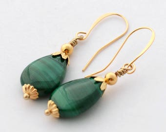 Malachite Earrings, Green Earrings, Gold Earrings, Gemstone Earrings, Malachite Jewelry, Valentine's Gift Boxed Jewelry, JewelryFineAndDandy