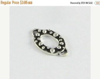 SHOP SALE Sterling Silver Oval 2 ring Connector Link Antiqued Bali Sterling Silver, Bracelet Link, Necklace Link, Earring Component (1 bead)