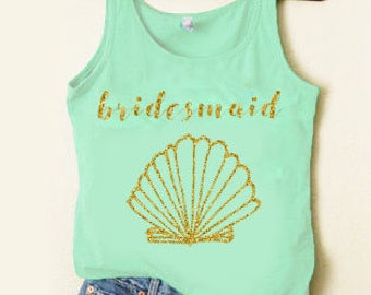 1 Bridesmaid GOLD GLITTER Mermaid Ocean Bridesmaid Tank Bride To Be Bridal Party Wifey Tank Bachelorette Party