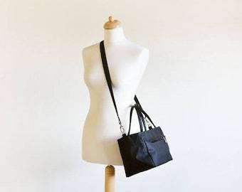 ON SALE Black crossbody handbag leather handles, Modern crossbody Bag with Zipper Closure, Everyday Handbags, Messenger Bag, Women handbags