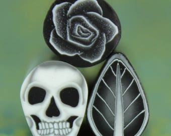 Set of 3  Mini Polymer Clay Canes -'Nevermore' (38dd)