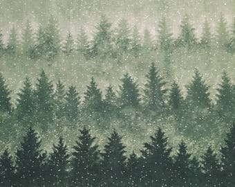 Ombre evergreen trees by Hoffman - 2 yards