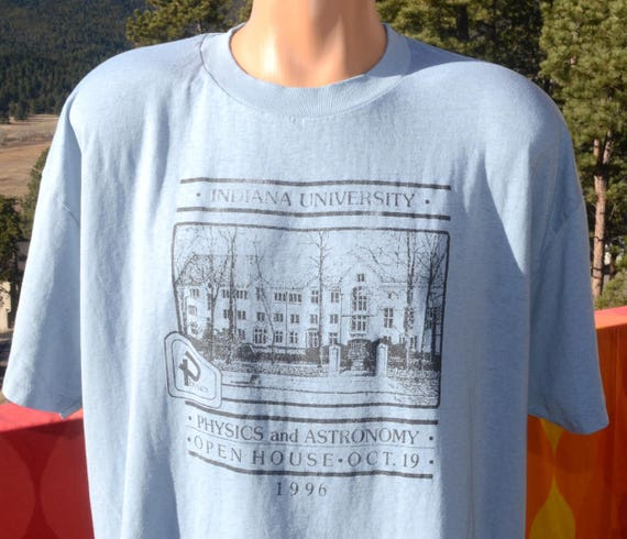 vintage 90s t-shirt paper thin INDIANA university PHYSICS astronomy soft burnout tee XL Large