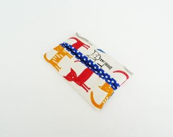 Tissue holder, cat fabric, multi colour cat design, cotton case