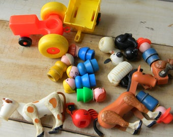 Lot of Fisher Price Little People animals, tractor and people