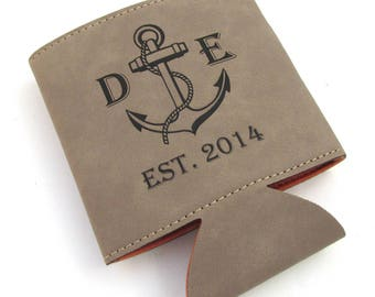 Personalized Leather Cozy - 3rd Anniversary - Anchor Wedding Gift Wedding Favor - Leatherette Can Cooler (1 cozy)