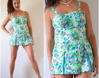 SUMMER SALE/ 30% off Vintage 50s 60s Green Floral Skirted Playsuit (size medium)