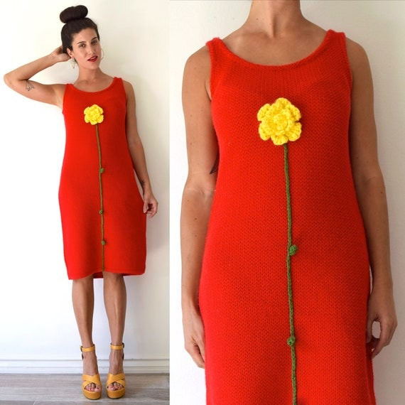 Vintage 60s 70s Red Knit Midi Tube Dress with 3D Crocheted Flower and Stem Applique (size medium, large)